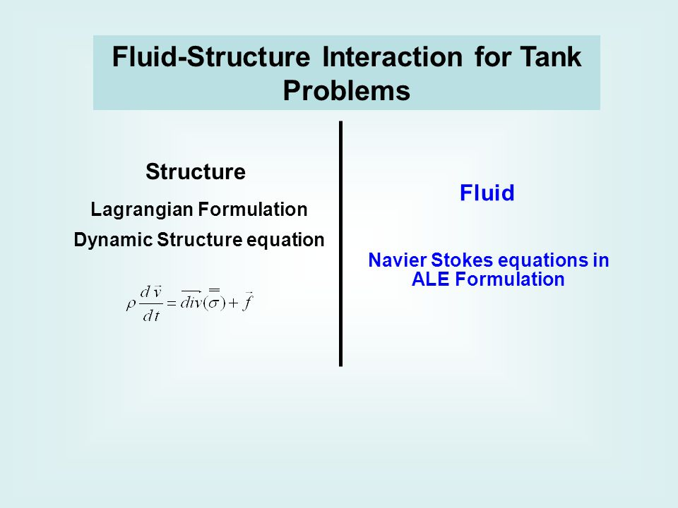Structure Fluid Lagrangian Formulation Dynamic Structure equation Navier Stokes equations in ALE Formulation Fluid-Structure Interaction for Tank Problems