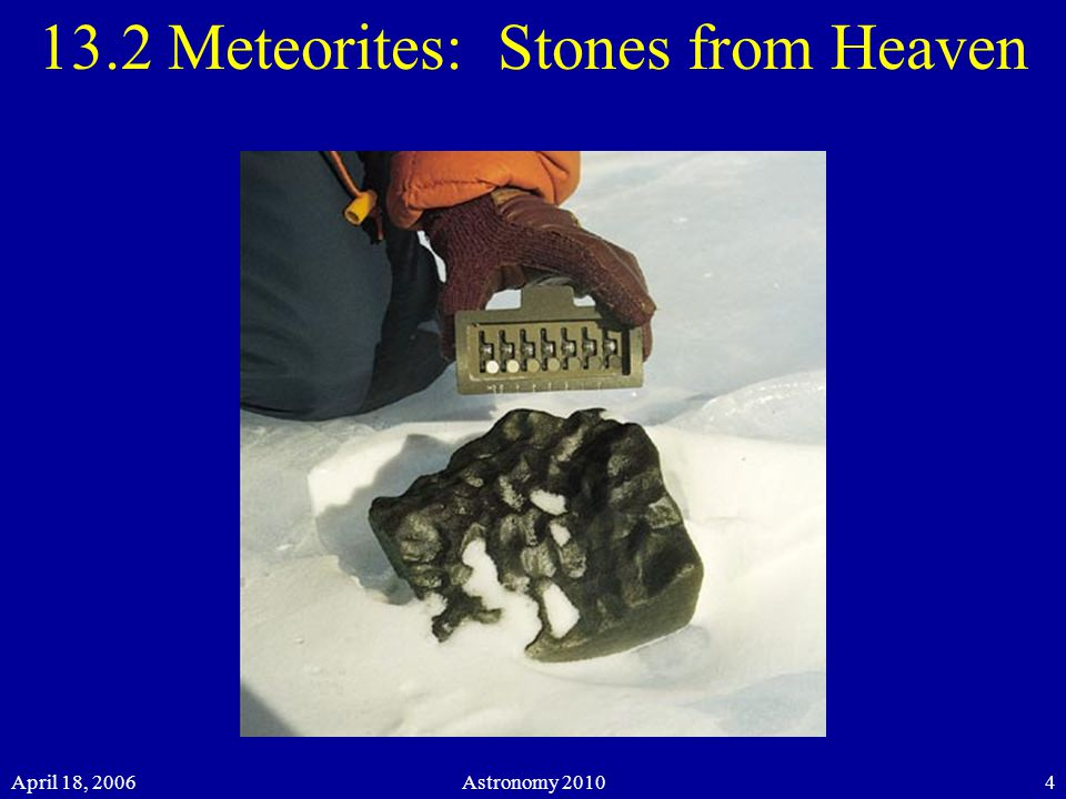 April 18, 2006Astronomy Meteorites: Stones from Heaven