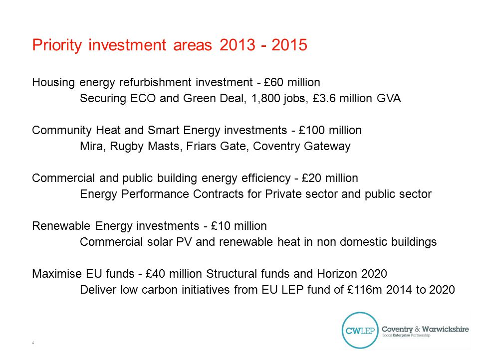Priority investment areas Housing energy refurbishment investment - £60 million Securing ECO and Green Deal, 1,800 jobs, £3.6 million GVA Community Heat and Smart Energy investments - £100 million Mira, Rugby Masts, Friars Gate, Coventry Gateway Commercial and public building energy efficiency - £20 million Energy Performance Contracts for Private sector and public sector Renewable Energy investments - £10 million Commercial solar PV and renewable heat in non domestic buildings Maximise EU funds - £40 million Structural funds and Horizon 2020 Deliver low carbon initiatives from EU LEP fund of £116m 2014 to