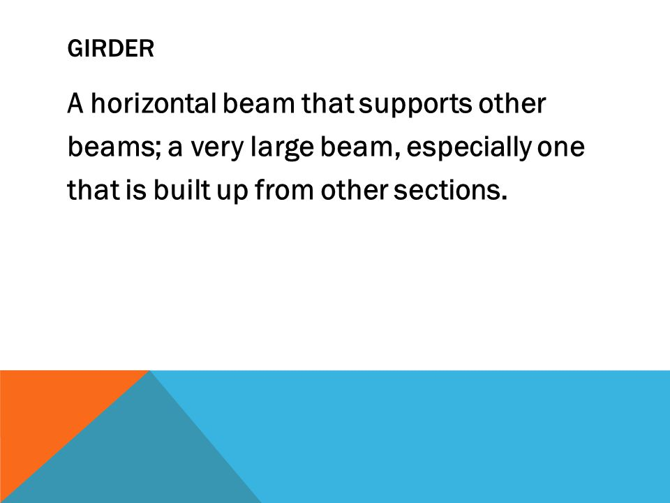 GIRDER A horizontal beam that supports other beams; a very large beam, especially one that is built up from other sections.