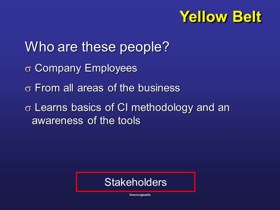 Yellow Belt Who are these people.