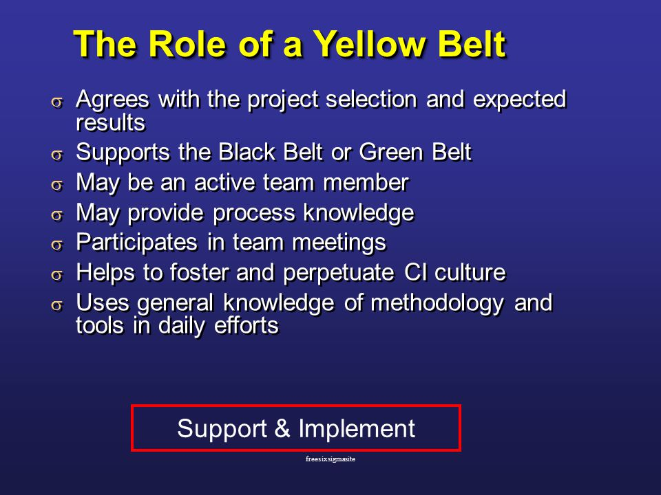 The Role of a Yellow Belt  Agrees with the project selection and expected results  Supports the Black Belt or Green Belt  May be an active team member  May provide process knowledge  Participates in team meetings  Helps to foster and perpetuate CI culture  Uses general knowledge of methodology and tools in daily efforts  Agrees with the project selection and expected results  Supports the Black Belt or Green Belt  May be an active team member  May provide process knowledge  Participates in team meetings  Helps to foster and perpetuate CI culture  Uses general knowledge of methodology and tools in daily efforts Support & Implement freesixsigmasite