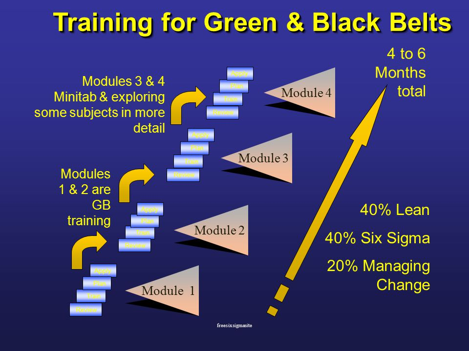 Training for Green & Black Belts Train Apply Plan Review Train Review Train Apply Plan Review Train Plan Review Module 1 Module 2 Module 3 Module 4 Plan Apply 4 to 6 Months total Modules 1 & 2 are GB training Modules 3 & 4 Minitab & exploring some subjects in more detail 40% Lean 40% Six Sigma 20% Managing Change freesixsigmasite