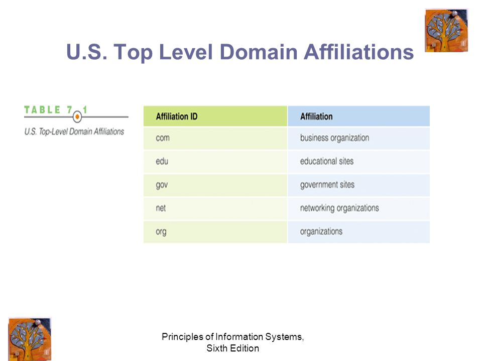 Principles of Information Systems, Sixth Edition U.S. Top Level Domain Affiliations