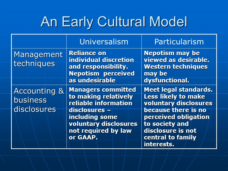 An Early Cultural Model UniversalismParticularism Management techniques Reliance on individual discretion and responsibility.