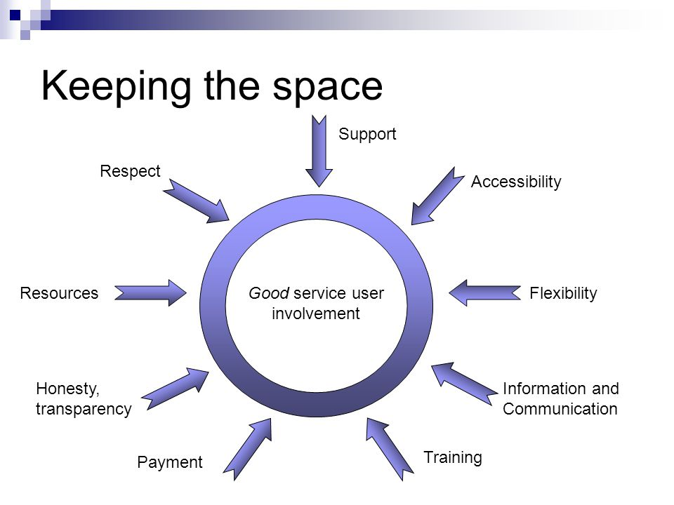 Keeping the space Good service user involvement Information and Communication Respect Accessibility Flexibility Honesty, transparency Training Payment Resources Support