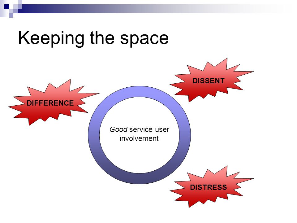 Keeping the space Good service user involvement DIFFERENCE DISSENT DISTRESS