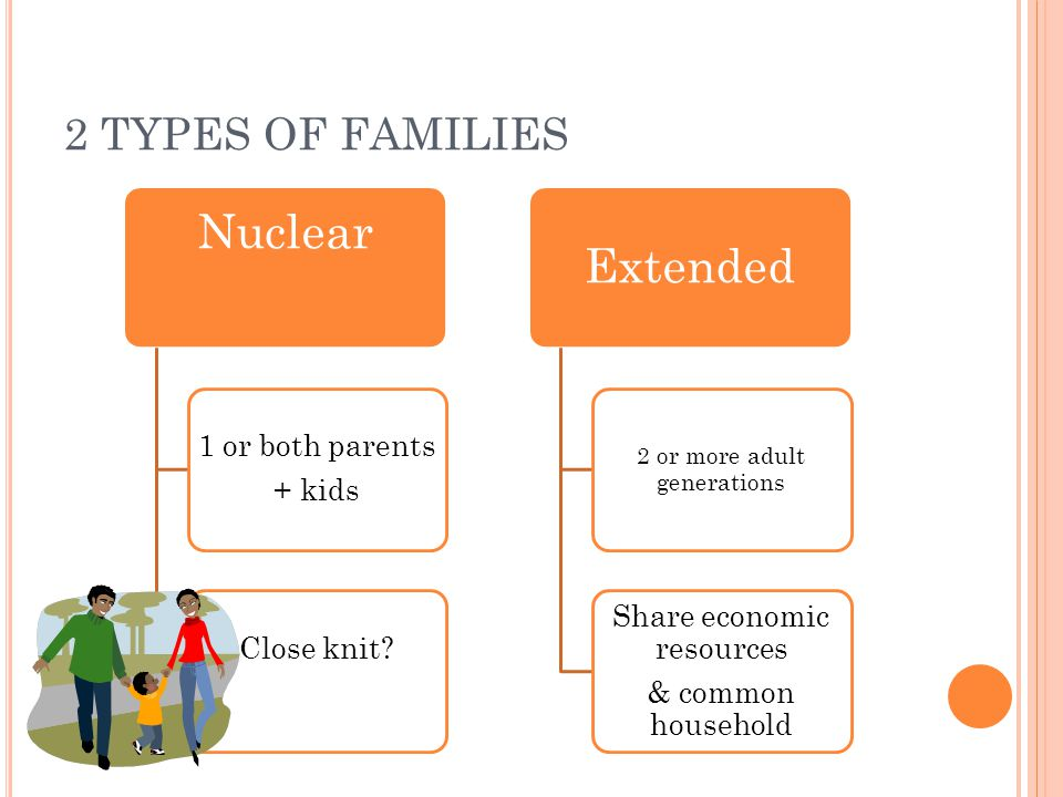 2 TYPES OF FAMILIES Nuclear 1 or both parents + kids Close knit.