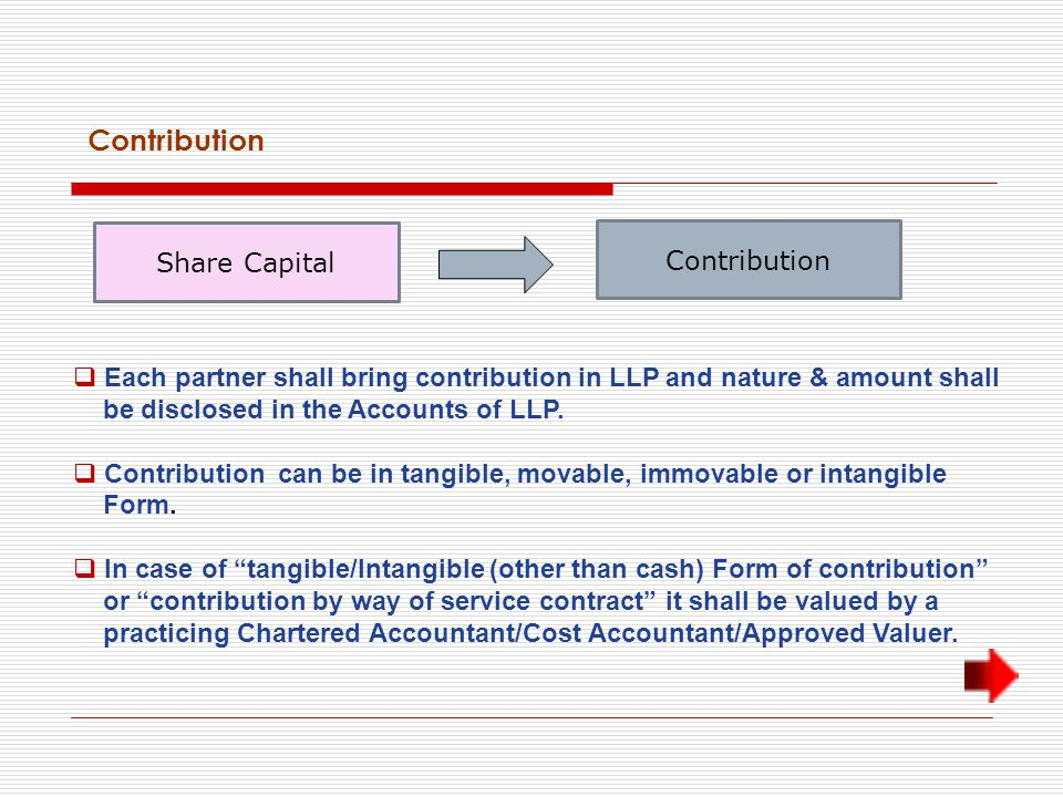 Contribution Share Capital Contribution  Each partner shall bring contribution in LLP and nature & amount shall be disclosed in the Accounts of LLP.