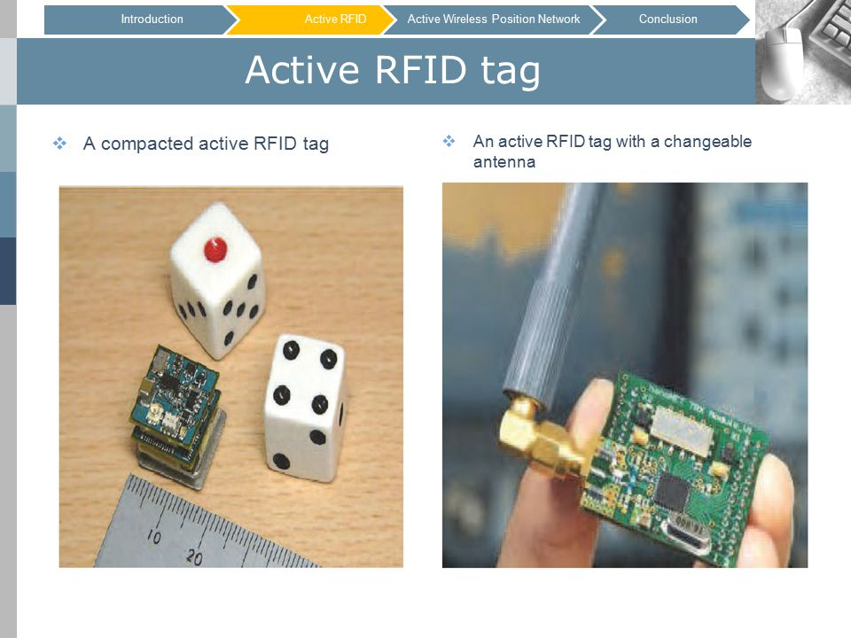 Active RFID tag  A compacted active RFID tag  An active RFID tag with a changeable antenna IntroductionActive RFID IntroductionActive RFIDConclusionActive Wireless Position Network