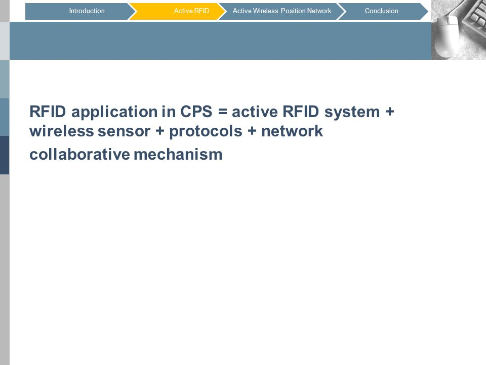 RFID application in CPS = active RFID system + wireless sensor + protocols + network collaborative mechanism IntroductionActive RFIDConclusionActive Wireless Position Network
