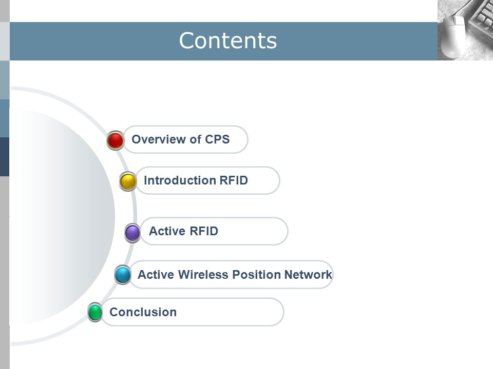 Contents Overview of CPSActive Wireless Position NetworkActive RFIDIntroduction RFIDConclusion