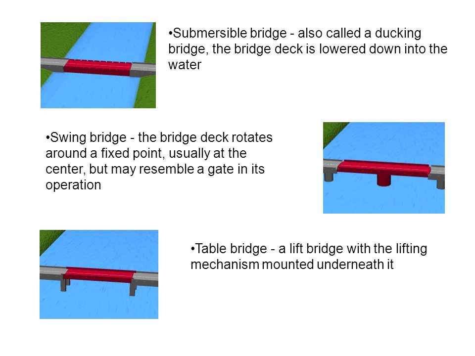 Submersible bridge - also called a ducking bridge, the bridge deck is lowered down into the water Swing bridge - the bridge deck rotates around a fixed point, usually at the center, but may resemble a gate in its operation Table bridge - a lift bridge with the lifting mechanism mounted underneath it