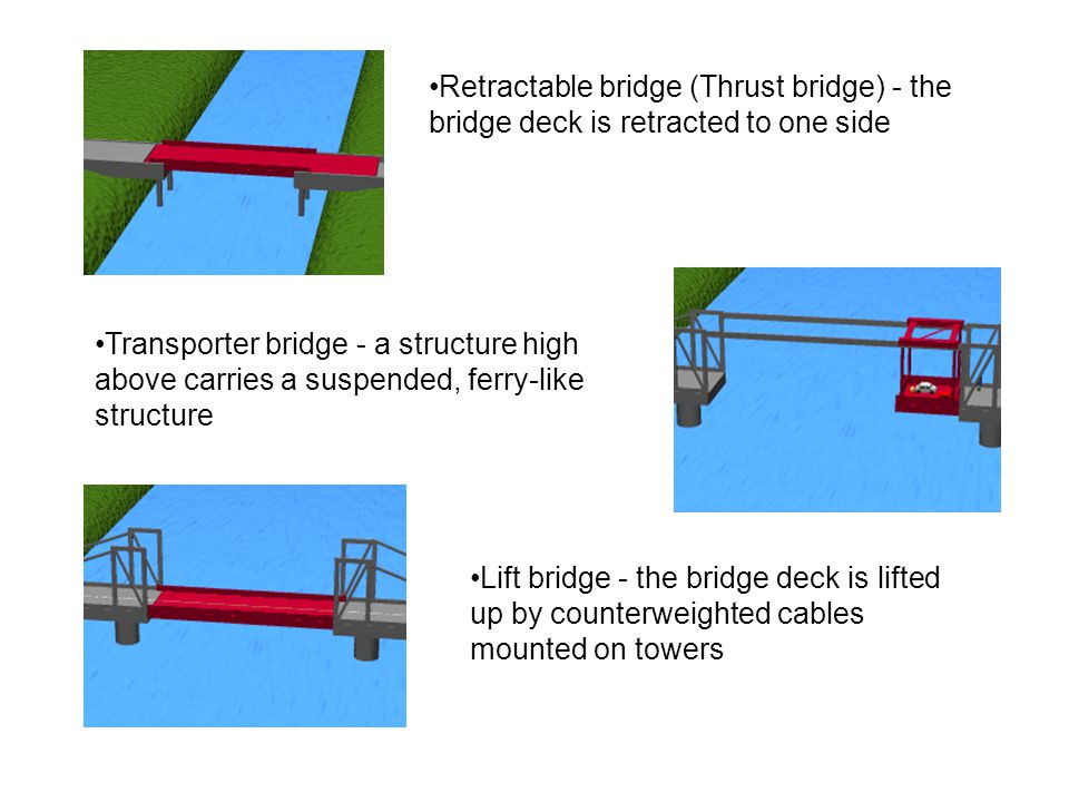 Retractable bridge (Thrust bridge) - the bridge deck is retracted to one side Transporter bridge - a structure high above carries a suspended, ferry-like structure Lift bridge - the bridge deck is lifted up by counterweighted cables mounted on towers