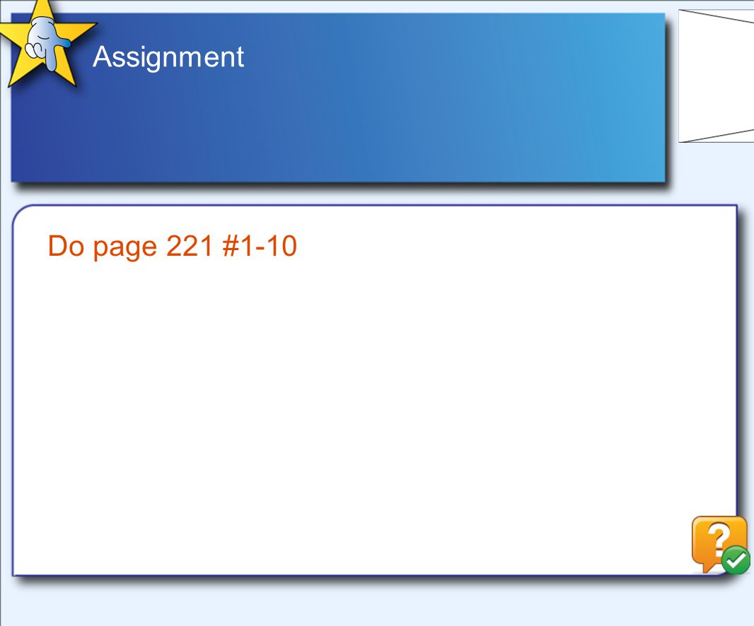 Assignment Do page 221 #1-10