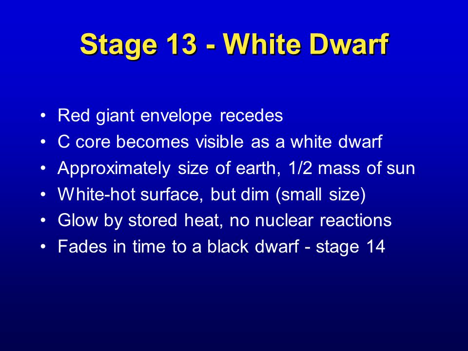 Stage 13 - White Dwarf Red giant envelope recedes C core becomes visible as a white dwarf Approximately size of earth, 1/2 mass of sun White-hot surface, but dim (small size) Glow by stored heat, no nuclear reactions Fades in time to a black dwarf - stage 14