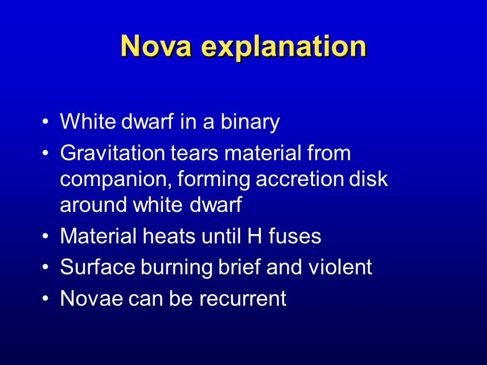 Nova explanation White dwarf in a binary Gravitation tears material from companion, forming accretion disk around white dwarf Material heats until H fuses Surface burning brief and violent Novae can be recurrent