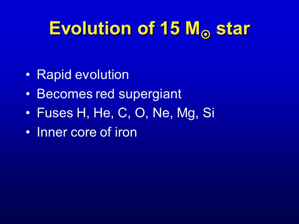 Evolution of 15 M  star Rapid evolution Becomes red supergiant Fuses H, He, C, O, Ne, Mg, Si Inner core of iron