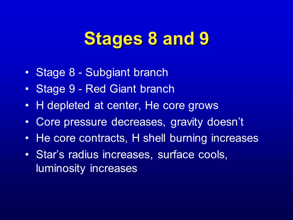 Stages 8 and 9 Stage 8 - Subgiant branch Stage 9 - Red Giant branch H depleted at center, He core grows Core pressure decreases, gravity doesn't He core contracts, H shell burning increases Star's radius increases, surface cools, luminosity increases