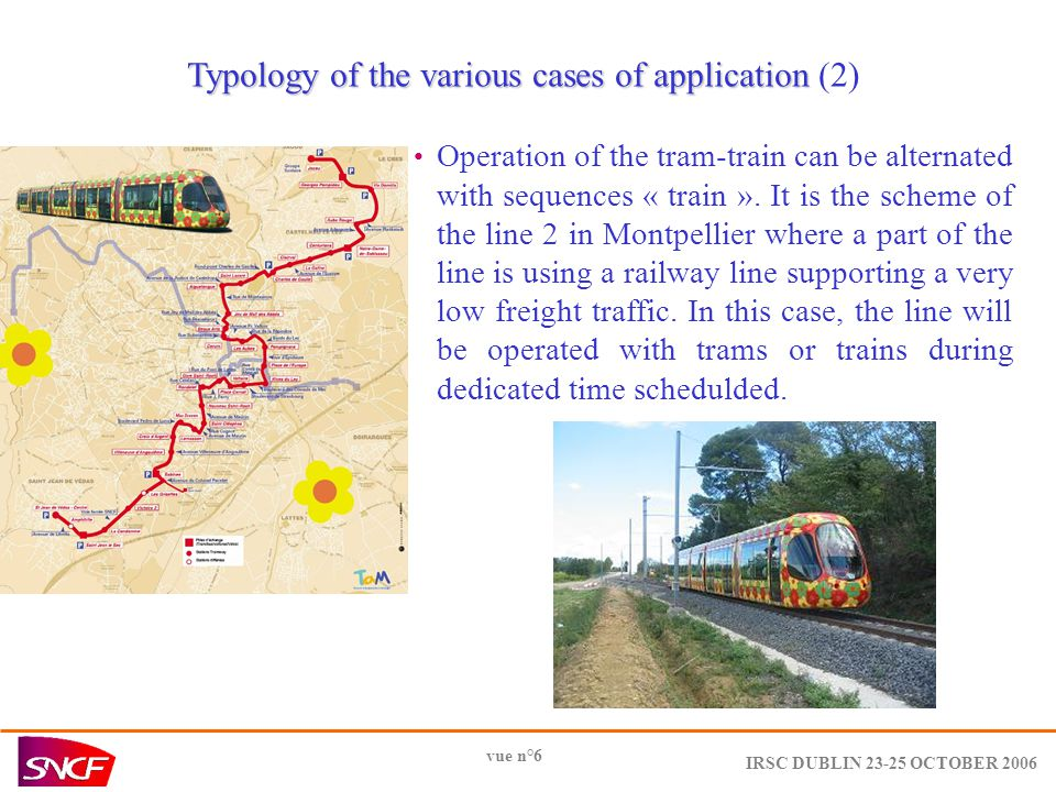 IRSC DUBLIN OCTOBER 2006 vue n°6 Typology of the various cases of application Typology of the various cases of application (2) Operation of the tram-train can be alternated with sequences « train ».
