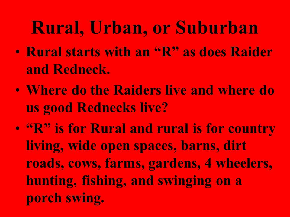 Rural, Urban or Suburban Suburban : relating to residential areas surrounding a large city.