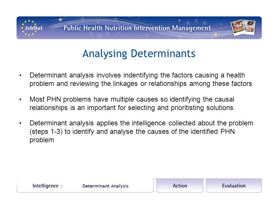 Analysing Determinants Determinant analysis involves indentifying the factors causing a health problem and reviewing the linkages or relationships among these factors Most PHN problems have multiple causes so identifying the causal relationships is an important for selecting and prioritisting solutions Determinant analysis applies the intelligence collected about the problem (steps 1-3) to identify and analyse the causes of the identified PHN problem