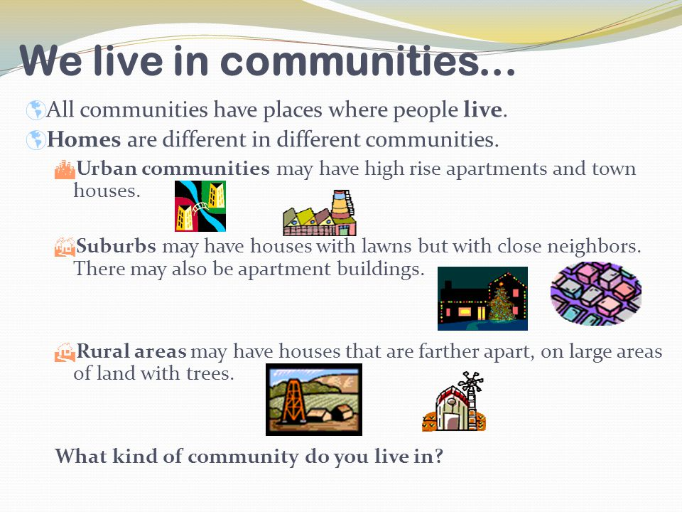 The three main types of communities are...