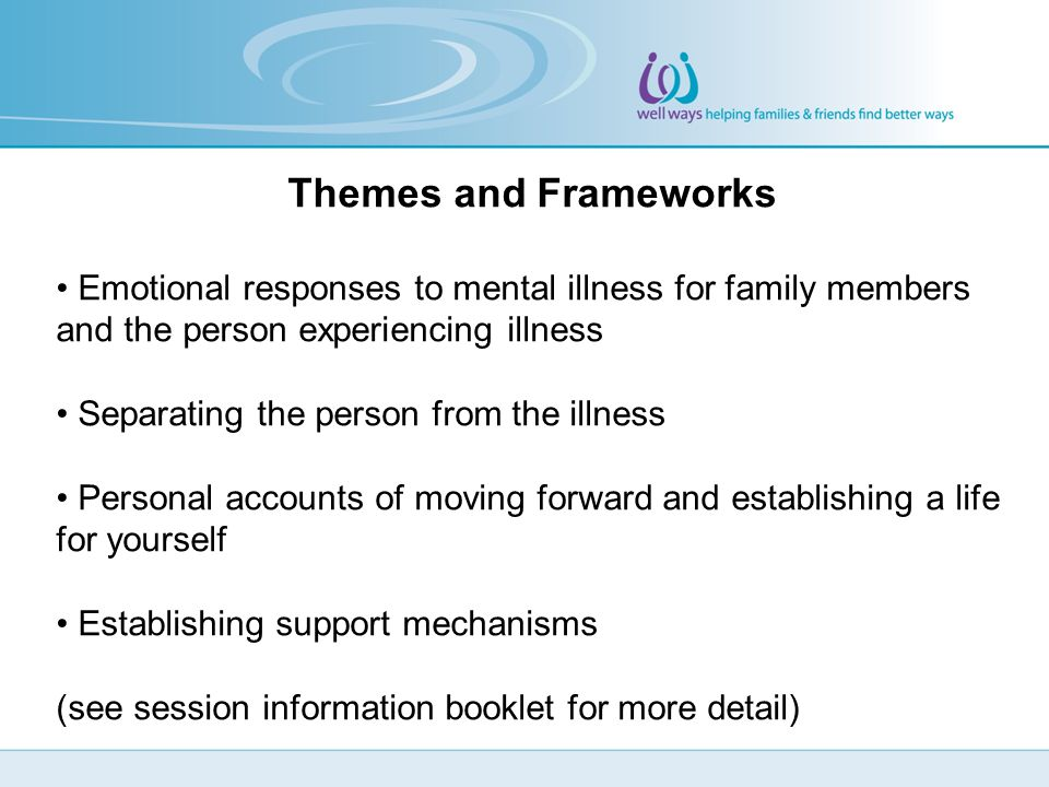 Themes and Frameworks Emotional responses to mental illness for family members and the person experiencing illness Separating the person from the illness Personal accounts of moving forward and establishing a life for yourself Establishing support mechanisms (see session information booklet for more detail)