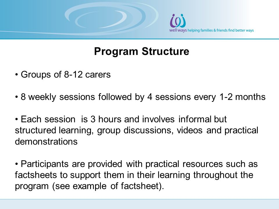 Program Structure Groups of 8-12 carers 8 weekly sessions followed by 4 sessions every 1-2 months Each session is 3 hours and involves informal but structured learning, group discussions, videos and practical demonstrations Participants are provided with practical resources such as factsheets to support them in their learning throughout the program (see example of factsheet).