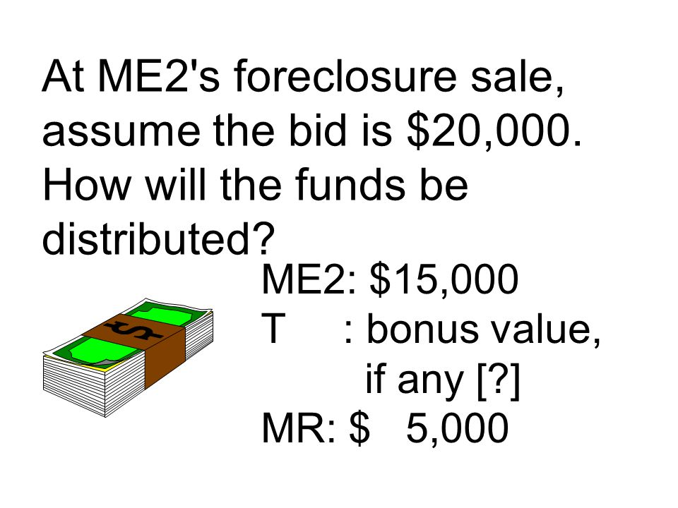 At ME2 s foreclosure sale, assume the bid is $20,000.