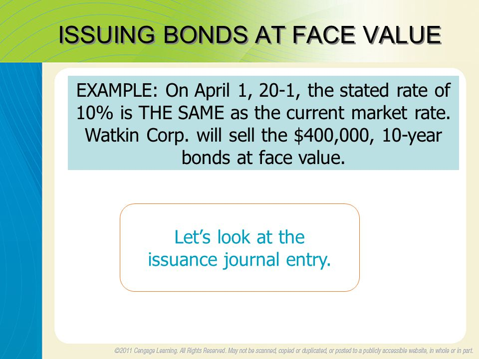 ISSUING BONDS AT FACE VALUE EXAMPLE: On April 1, 20-1, the stated rate of 10% is THE SAME as the current market rate.
