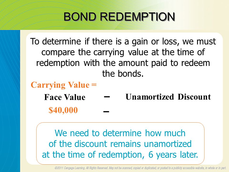 BOND REDEMPTION To determine if there is a gain or loss, we must compare the carrying value at the time of redemption with the amount paid to redeem the bonds.