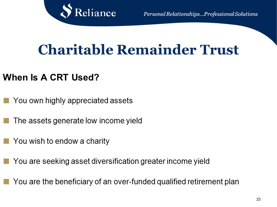 Personal Relationships…Professional Solutions 25 Charitable Remainder Trust When Is A CRT Used.