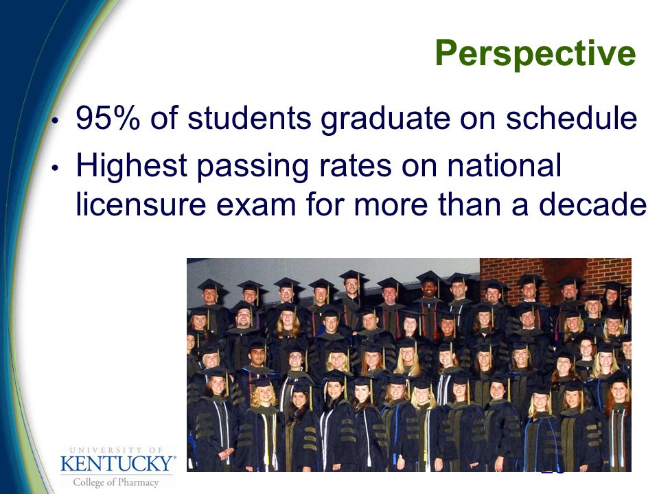 25 Perspective 95% of students graduate on schedule Highest passing rates on national licensure exam for more than a decade
