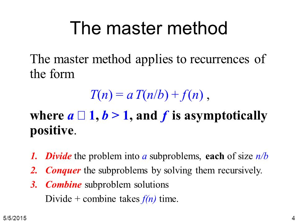 5520151 Analysis Of Algorithms Lecture 67 Master Theorem And