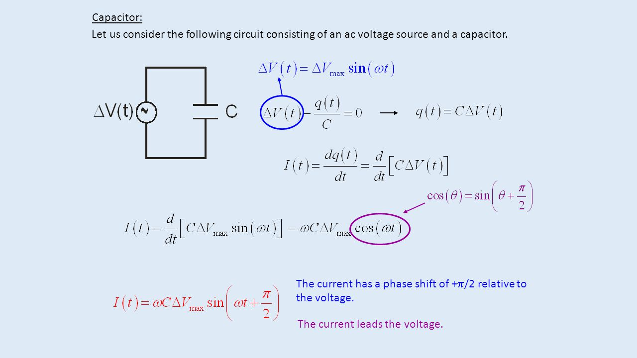 Capacitor Let Us Consider The Following Circuit Consisting Of An Ac Diagram Voltage Source And A