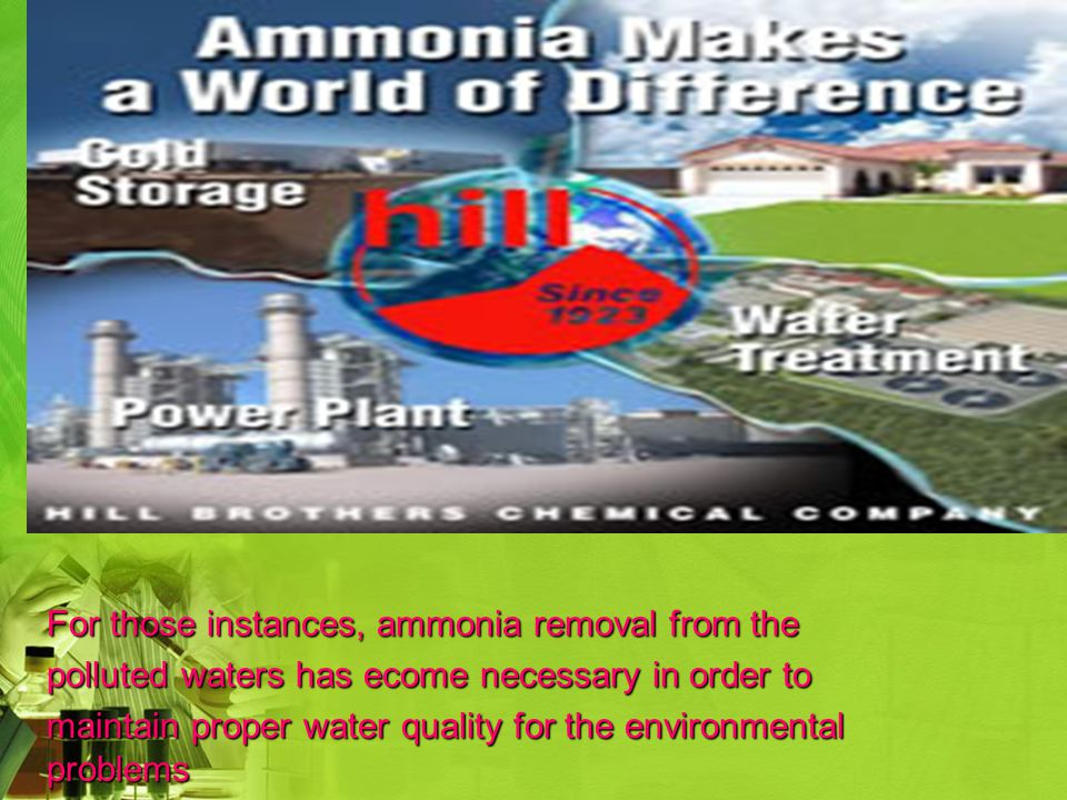 For those instances, ammonia removal from the polluted waters has ecome necessary in order to maintain proper water quality for the environmental problems