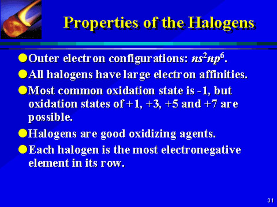 The halogens are five non metallic elements found in group 7 of the 3 name fluorine symbol f atomic number 9 atomic mass 18998404 amu melting point 21962 c 53530006 k 36331598 f boiling point 18814 c urtaz Choice Image