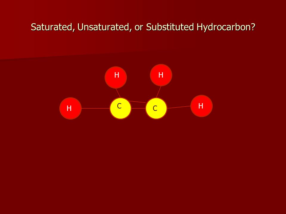 Saturated, Unsaturated, or Substituted Hydrocarbon H HC C HH
