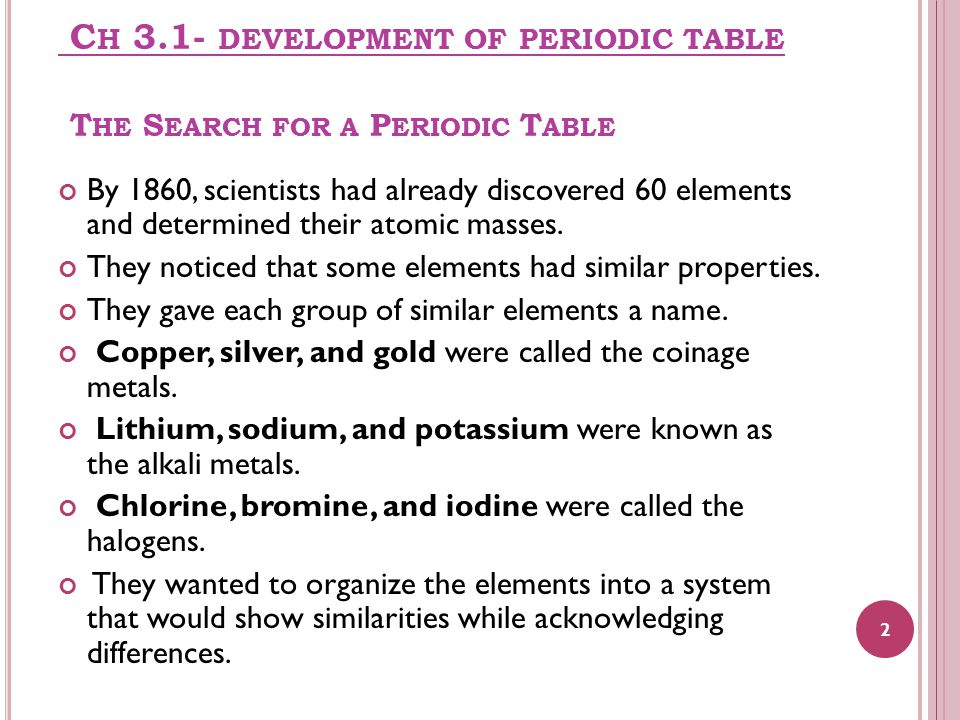 C H 3.1- DEVELOPMENT OF PERIODIC TABLE T HE S EARCH FOR A P ERIODIC T ABLE By 1860, scientists had already discovered 60 elements and determined their atomic masses.