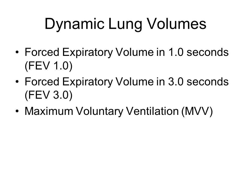 Dynamic Lung Volumes Forced Expiratory Volume in 1.0 seconds (FEV 1.0) Forced Expiratory Volume in 3.0 seconds (FEV 3.0) Maximum Voluntary Ventilation (MVV)