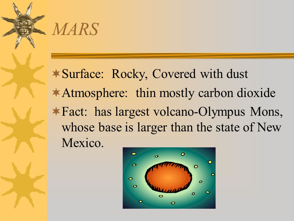 MARS  Surface: Rocky, Covered with dust  Atmosphere: thin mostly carbon dioxide  Fact: has largest volcano-Olympus Mons, whose base is larger than the state of New Mexico.