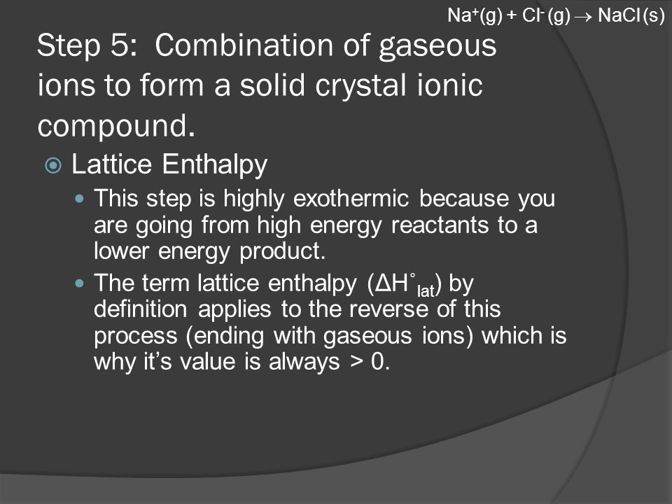 Step 5: Combination of gaseous ions to form a solid crystal ionic compound.