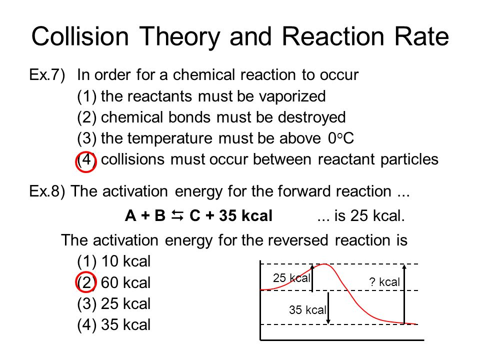 Collision Theory and Reaction Rate Ex.7) In order for a chemical reaction to occur (1) the reactants must be vaporized (2) chemical bonds must be destroyed (3) the temperature must be above 0 o C (4) collisions must occur between reactant particles Ex.8) The activation energy for the forward reaction...