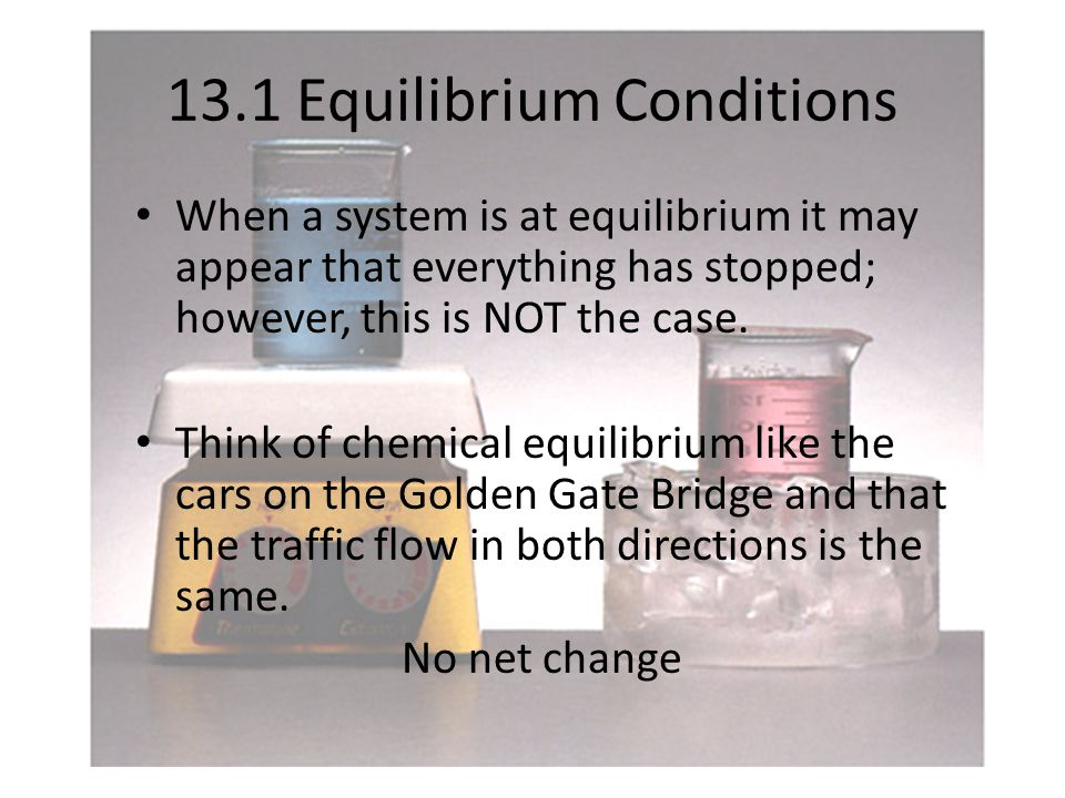 13.1 Equilibrium Conditions When a system is at equilibrium it may appear that everything has stopped; however, this is NOT the case.