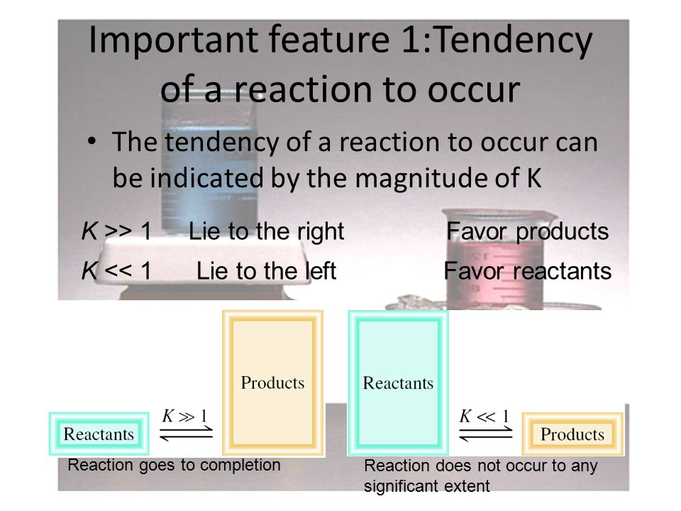 Important feature 1:Tendency of a reaction to occur The tendency of a reaction to occur can be indicated by the magnitude of K K >> 1 K << 1 Lie to the rightFavor products Lie to the leftFavor reactants Reaction goes to completion Reaction does not occur to any significant extent