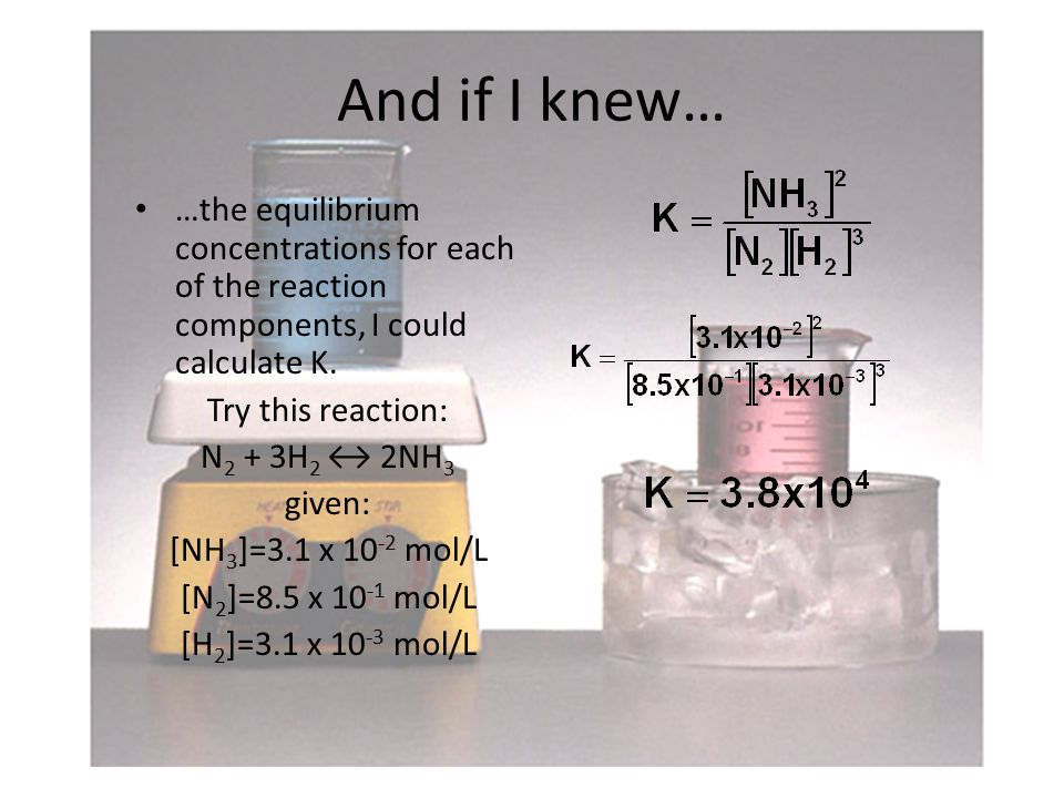 And if I knew… …the equilibrium concentrations for each of the reaction components, I could calculate K.