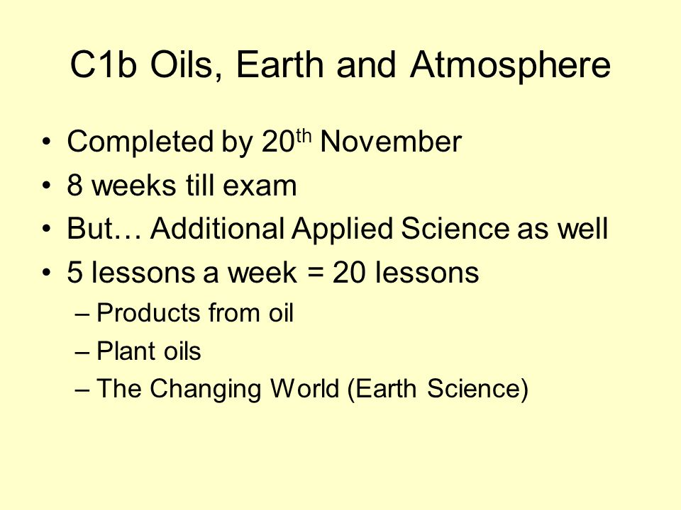Completed by 20 th November 8 weeks till exam But… Additional Applied Science as well 5 lessons a week = 20 lessons –Products from oil –Plant oils –The Changing World (Earth Science)