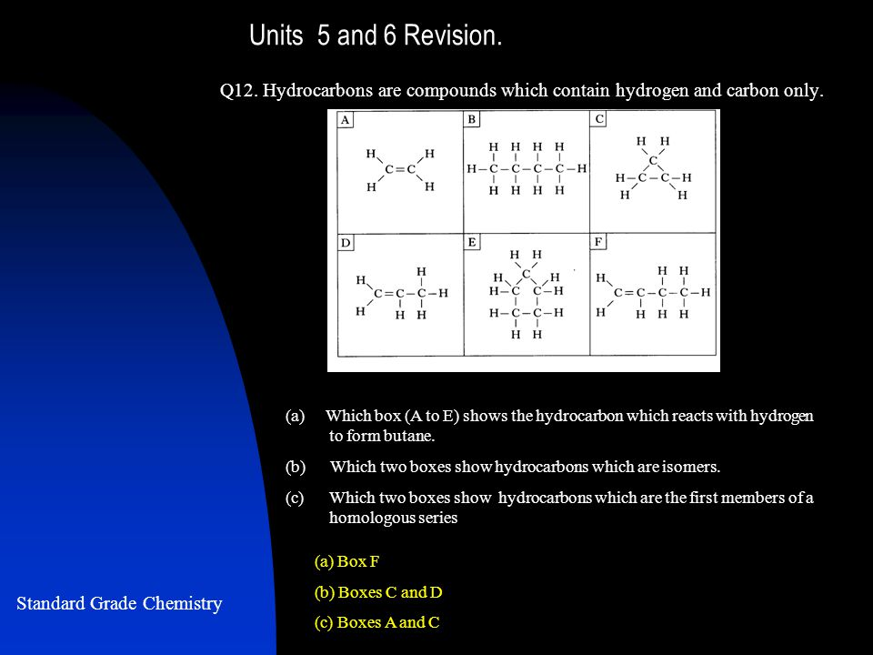 Units 5 and 6 Revision. Q12. Hydrocarbons are compounds which contain hydrogen and carbon only.