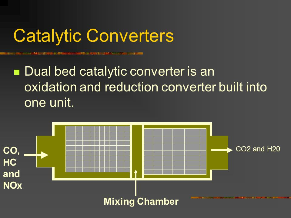 Catalytic Converters Dual bed catalytic converter is an oxidation and reduction converter built into one unit.